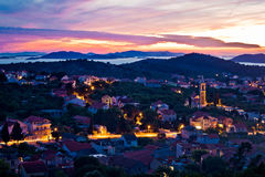 Town of Murter sunset view Stock Photography