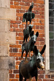 Town Musicians of Bremen. A bronze statue by Gerhard Marcks depicting the Bremen Town Musicians located in Bremen, Germany stock photos