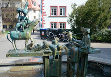 Town Musicians of Bremen Fountain, Erfurt, Germany Stock Image