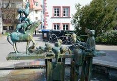 Town Musicians of Bremen Fountain, Erfurt, Germany Stock Image
