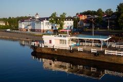 Town of Myshkin on  banks of river Volga, Russia. Quay the historic town of Myshkin on the banks of the river Volga, Russia Royalty Free Stock Images