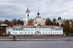 Town of Myshkin on the Volga River. Town of Myshkin, located on the steep left bank of the Volga river. As seen from the ship Stock Photography