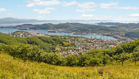 Town Nakhodka. View from above Stock Image