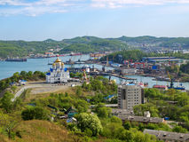 Town Nakhodka. View on Cathedral Church and bay Royalty Free Stock Images