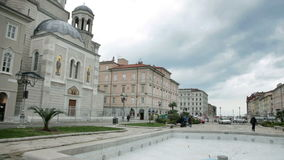 Town near sea in Italy and old arhitecture in Trieste Italy stock video