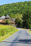Town near the Winding Asphalt Road Stock Photography