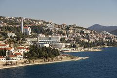 Hotels and Cathedral in Neum. Town Neum in Bosnia and Herzegovina in Malostonski bay on Adriatic sea Stock Images