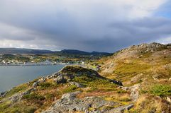 Town on Newfoundland coast Royalty Free Stock Photo