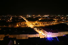 Town in the night. Bridge over Elbe river in center, Hradec Kralove, Czech Republic Stock Images