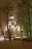 Town in night 3. Vladivostok.Russia.Far-East. Night and snow Royalty Free Stock Photos