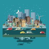 Town night template with roads, cars and cute houses. Industrial background. Night in the cute city. royalty free illustration