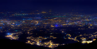 Town at night. Night view of Croatian capital Zagreb from mountain Royalty Free Stock Photo
