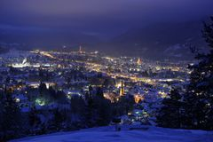 Town at night in winter Royalty Free Stock Images