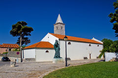 Town of Nin church and square Stock Photography