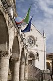 Town of Norcia Umbria Italy. Main square of the town of Norcia Italy Royalty Free Stock Photos