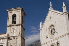 Town of Norcia Umbria Italy. Main square of the town of Norcia Italy Royalty Free Stock Image