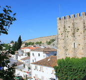 The Town of Obidos. View of the fortress wall of Obidos royalty free stock images