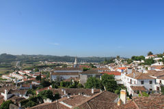 The Town of Obidos. Views of the Obidos from the castle wall royalty free stock images