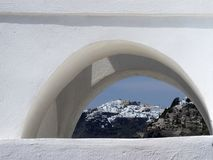 Free Town Of Fira Santorini Greece Through A Small Window Stock Images - 158887224