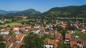 Free Town Of Saint-Jean-Pied-de-Port Under Hills And Blue Sky In The Basque Country Of France Stock Photography - 142834382