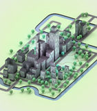 Town with office buildings development. Illustration Stock Images