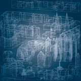 Town old. Vector blueprint drawing of the old european town space Stock Photography