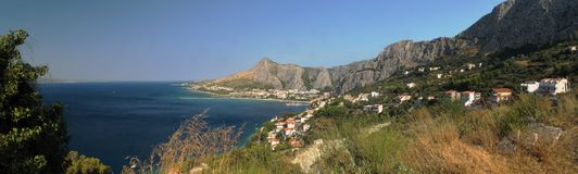Town Omis at Adriatic sea in Croatia Royalty Free Stock Images