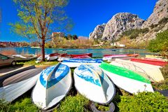 Town of Omis boats on Cetina river view Royalty Free Stock Photo