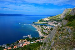 The town of Omis and the river Cetina. The town of Omis and the Cetina river in Croatia stock photography