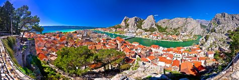 Town of Omis and Cetina river mouth panoramic view. Dalmatia region of Croatia stock image