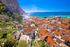 Town of Omis coast and rooftops panoramic view Royalty Free Stock Image