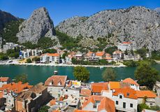 Town Omis in Croatia. Travel background stock photo