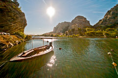 Town Omis in Croatia - travel background. Stock Photos