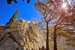 Town of Omis old fortress on the cliff Royalty Free Stock Images