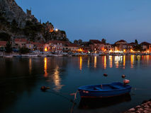 Town Omis - twilight Stock Photo