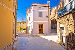 Town of Omisalj old mediterranean street view royalty free stock photo