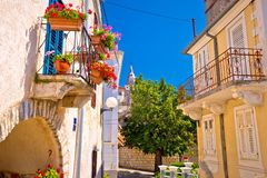 Town of Omisalj old mediterranean street view royalty free stock photos