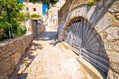 Town of Omisalj old mediterranean street view royalty free stock photos