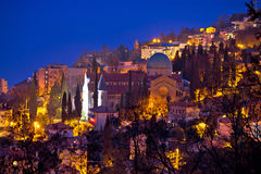 Town of Opatija cathedral evening view Stock Image
