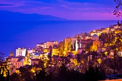 Town of Opatija cathedral evening view Royalty Free Stock Photo