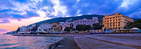Town of Opatija waterfront sunset panorama Royalty Free Stock Photo