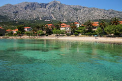 Town of Orebic on Peljesac Peninsula, Croatia. It was named after the family who restored the castle inside the fortified settlement in 1586 royalty free stock image