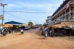 Town on the outskirts of Siem Reap city. Heading towards Phnom Penh Royalty Free Stock Photo