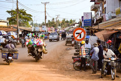 Town on the outskirts of Siem Reap city. On the road to Phnom Penh Stock Image