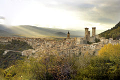 The town of Pacentro and its medieval towers stock images
