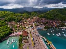 Town of Padang Bai aerial view. Royalty Free Stock Image