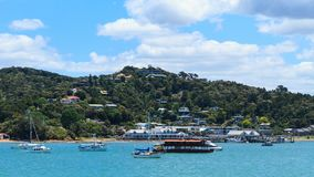 The town of Paihia in the Bay of Islands, New Zealand, from the water stock images