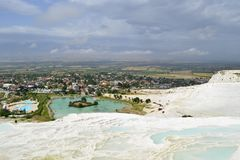 The town of Pamukkale, at the foot of the springs royalty free stock photos