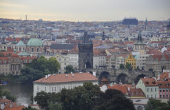 Town panorama with Charles Bridge view from Prague in Czech Republic Royalty Free Stock Photos