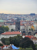 Town panorama with Charles Bridge view from Prague in Czech Republic Stock Photography